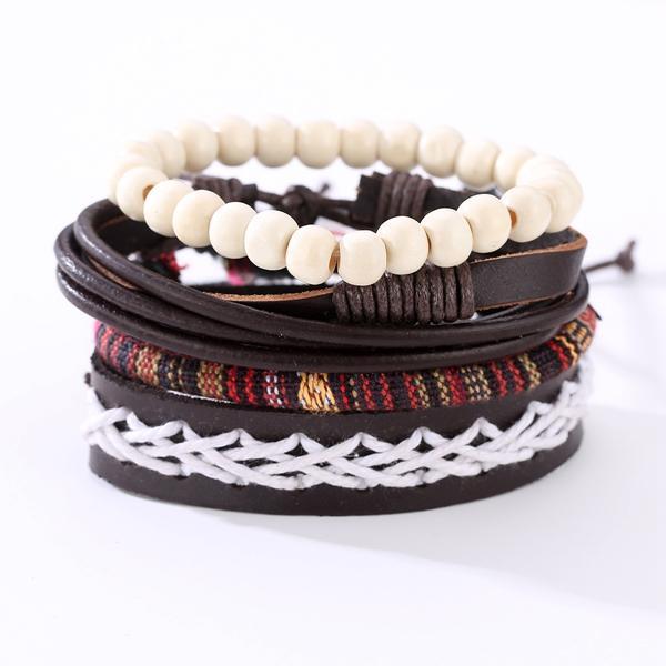 Punk Braided Leather Bracelet Adjustable White Beaded Bracelet for Men