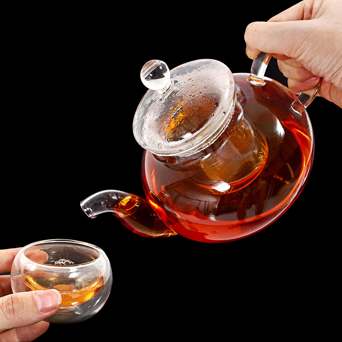 8 Pcs/Set Clear Glass Tea Double Wall Teapot & Cup Filtering Drink Home Decor - 3
