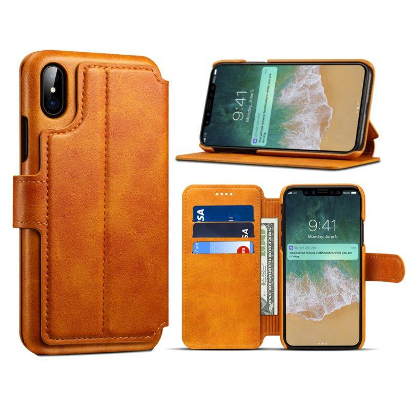 Premium Cowhide Wallet Card Slot Kickstand Case For iPhone X
