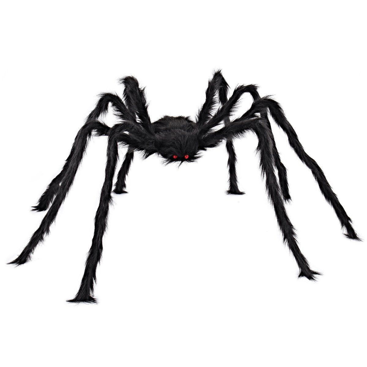 5FT/150cm Hairy Giant Spider Decorations Huge Halloween Outdoor Decor Toys for Party - 1