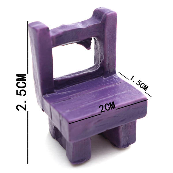 Mini Resin Stool Chair Desk Figurine Micro Landscape Ornament Gardening Decoration DIY Bonsai Craft - 7