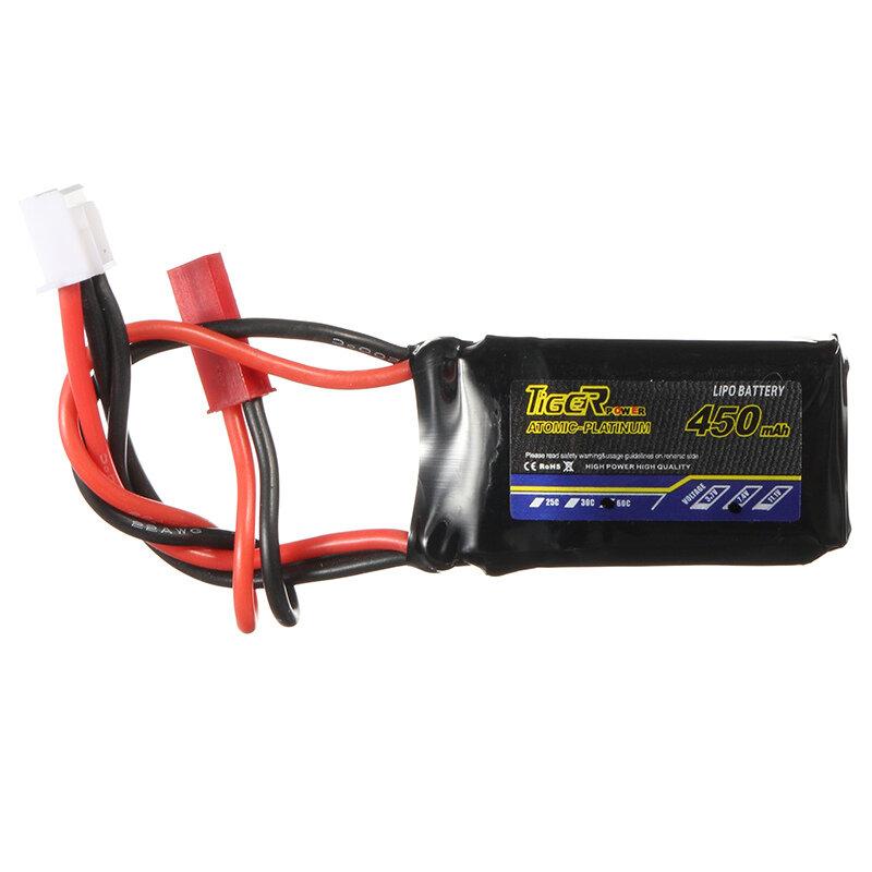 Tiger Power 7.4V 450mAh 60C 2S Lipo Batterie JST Stecker - 1