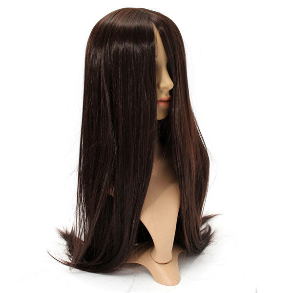 Women Cosplay Wigs Long Straight Wig Black Hair Halloween Party Dress 80cm - 5