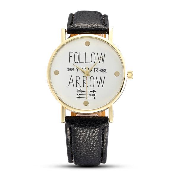 Casual Fashion Alphabet Pattern Dial Leather Strap Women Quartz Watch - 1