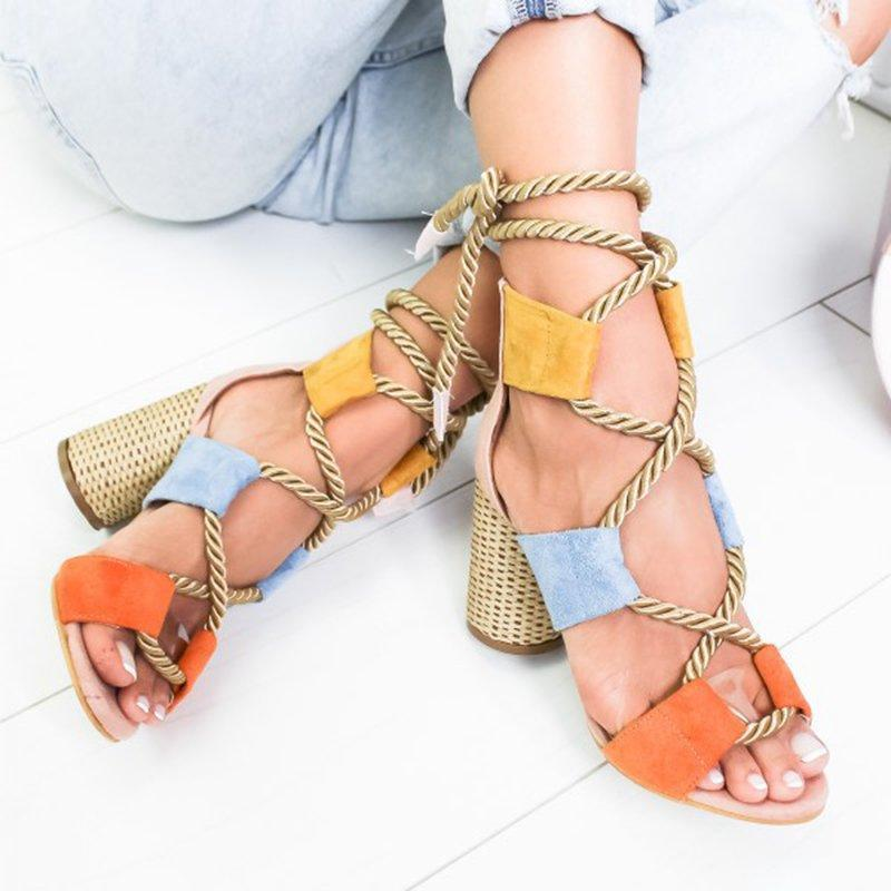 Colorful Casual Suede High Heeled Lace Up Sandals