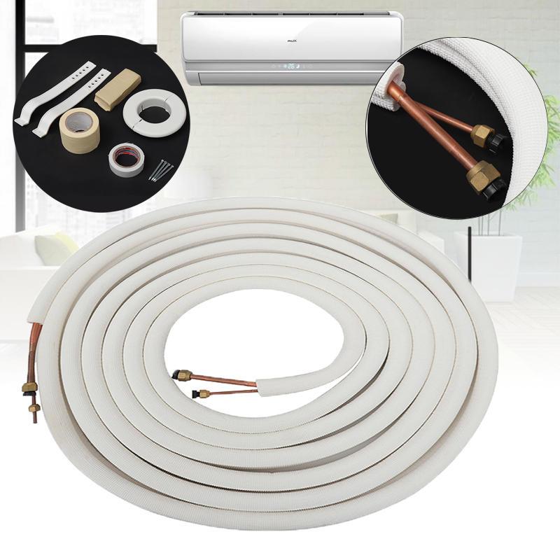 10m Air Conditioner Coil Tube 1/4'' 3/8'' Insulated Copper Wire Pipe Split Line Wire