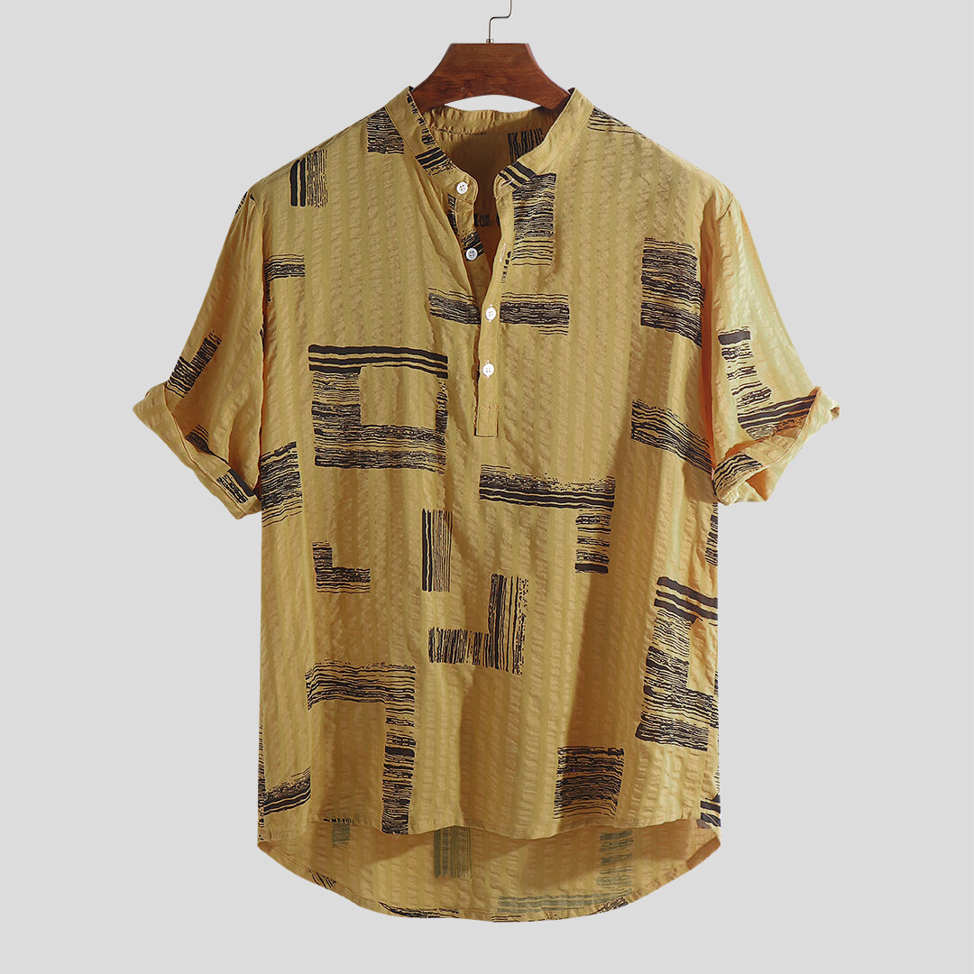 Mens Casual Stand Collar Printing Buttons Loose Fit Summer Short Sleeve Shirts - 3