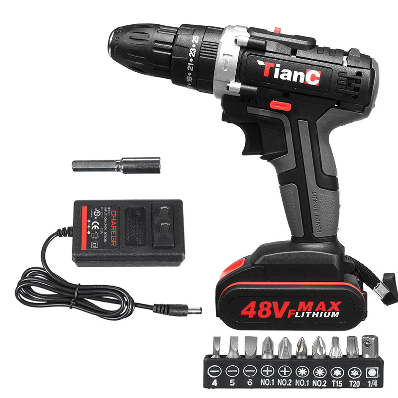48V Cordless Electric Impact Drill Rechargeable Drill Screwdriver W/ 1 or 2 Li-ion Battery