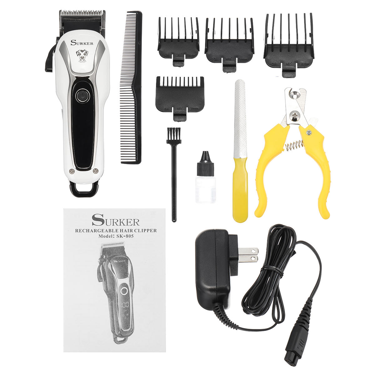 Pet Clipper Rechargeable Pet Cat Dog Electric Trimmer Hair Cutter Shaver Grooming Tool Kit - 9