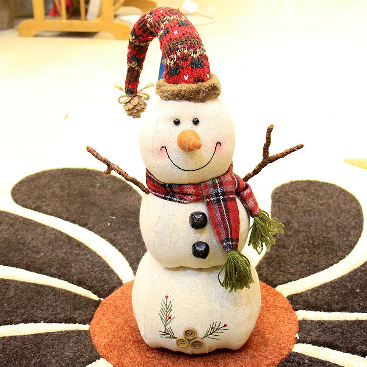 Christmas 2017 Linen Snowman Dolls Ornament Table Desk Decoration Christmas Gifts for Kids - 7