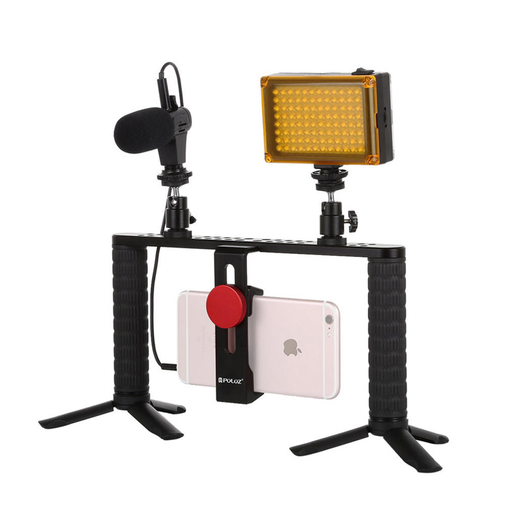 Puluz PKT3024 4 in 1 Video Rig Stabilizer Grip Microphone Video Light Tripod for Mobile Phone - 1