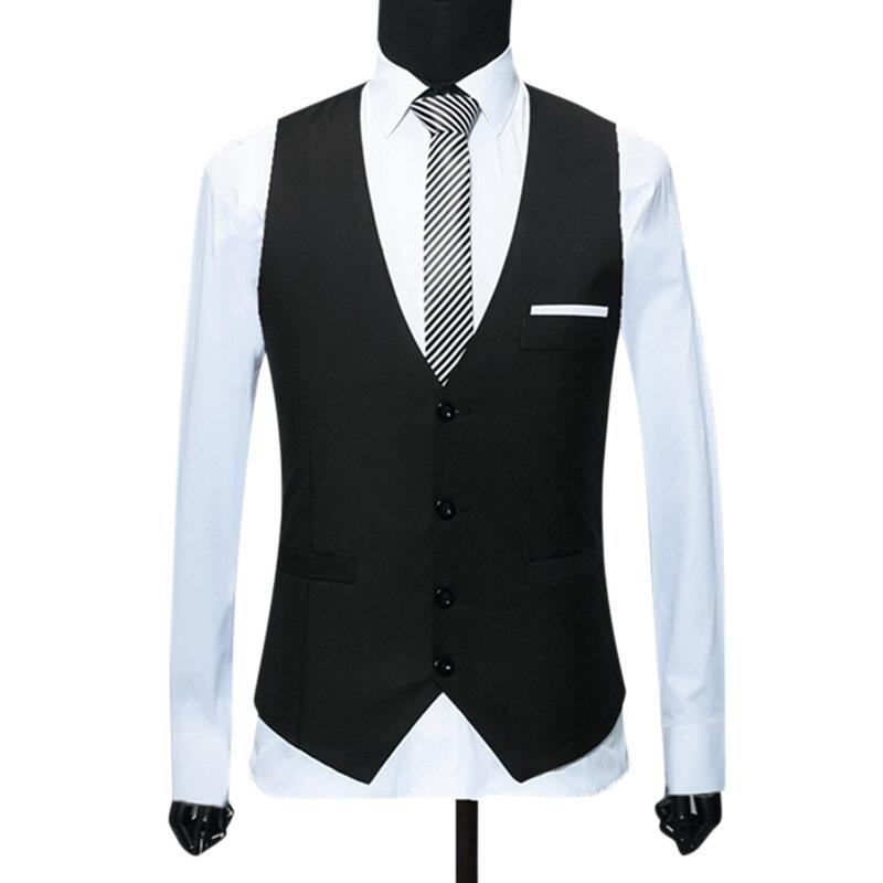 Spring Autumn Fashion Slim Waistcoat Suit Vest for Men - 3