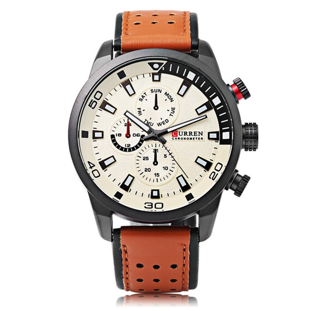 CURREN 8250 Luxury Leather Watch Band Fashion Casual Men Quartz Wrist Watch - 1