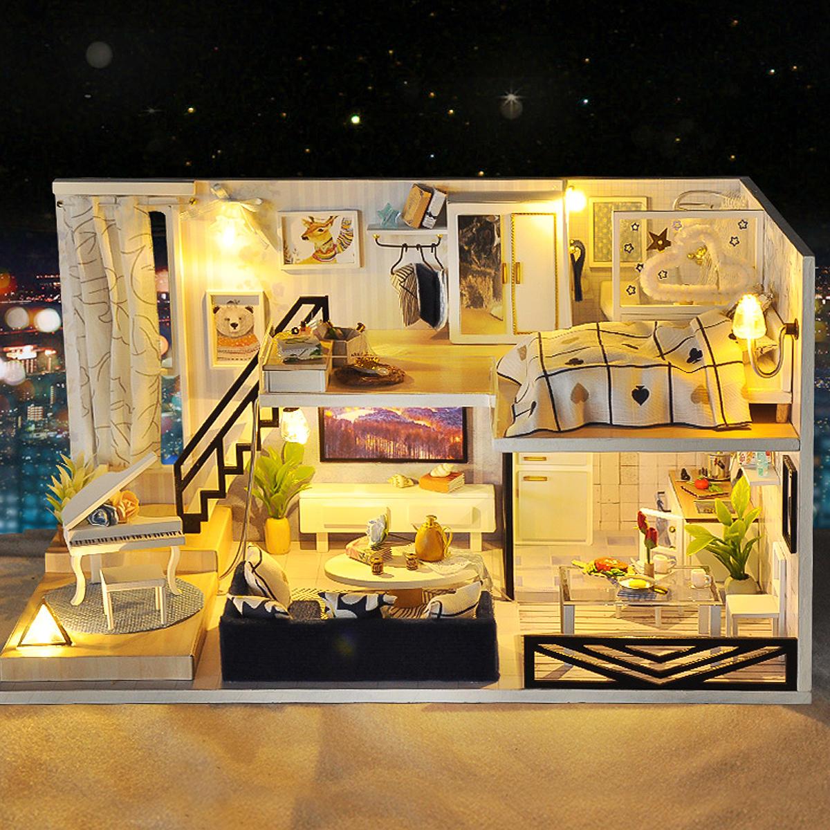Time Shadow Modern Doll House miniatura DIY Kit Dollhouse con muebles luz LED Caja regalo