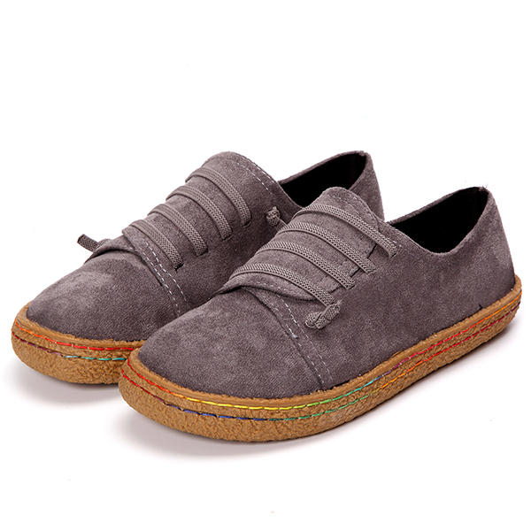 Women Casual Suede Stitching Slip On Flats - 9