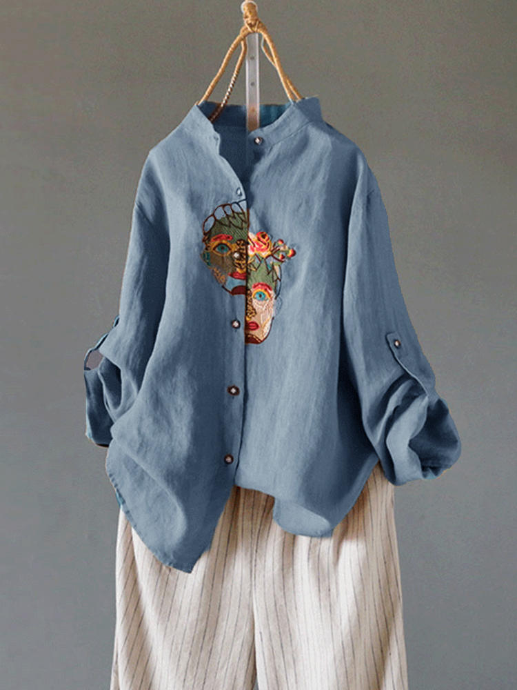 Women Loose Embroidered V-Neck Long Sleeve Pocket Blouse - 3