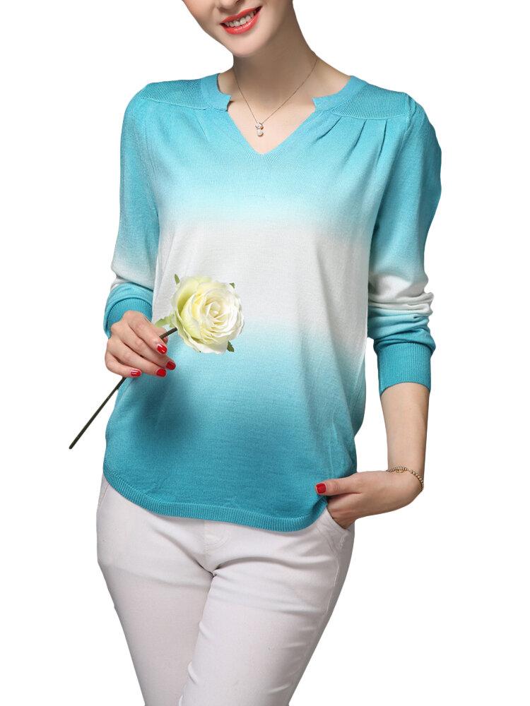 आरामदायक महिला ग्रेडियेंट वी-गर्दन लंबी आस्तीन बुनाई टी शर्ट
