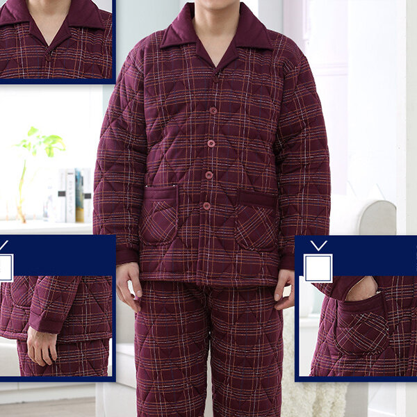 Men Flannel Thick Plain Onesies Loungewear Thermal Thumb Ho - 6