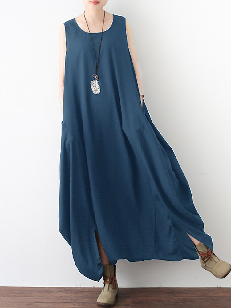 Women Casual Sleeveless Pockets Loose Baggy Long Jumpsuit