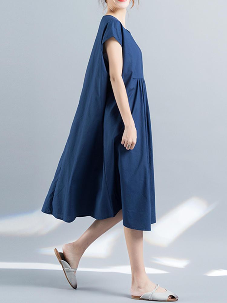 Casual Women Pure Color High Waist Short Sleeve Dresses - 6