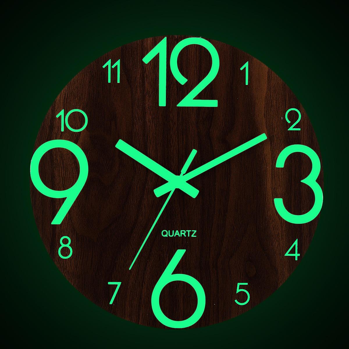 "12"" Luminous Wall Clock Quartz Wooden Silent Non Ticking Dark Home Room Decor"