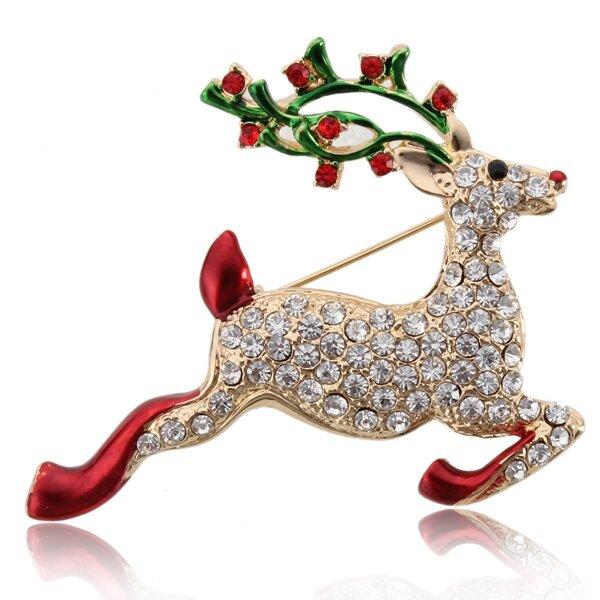 Pha lê Giáng sinh đầy màu sắc Chuông Elk Snowman Trâm Quà Giáng sinh