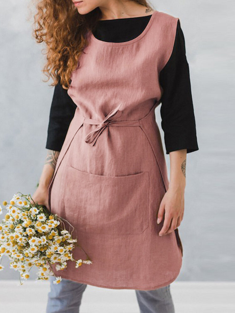 Women Sleeveless Pocket Cotton Solid Color Vintage Apron Dress