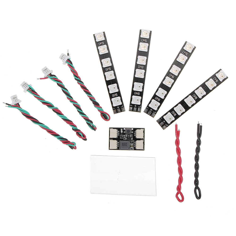 4 PC WS2812 LED Strip Light 2 6S 7 colori commutabile con LED Controller Board per RC Drone - 1