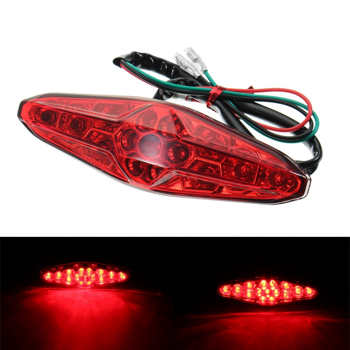 BLACK MOTORCYCLE BRAKE TAIL LIGHT WITH INTEGRATED TURN SIGNALS AMBER BLINKERS