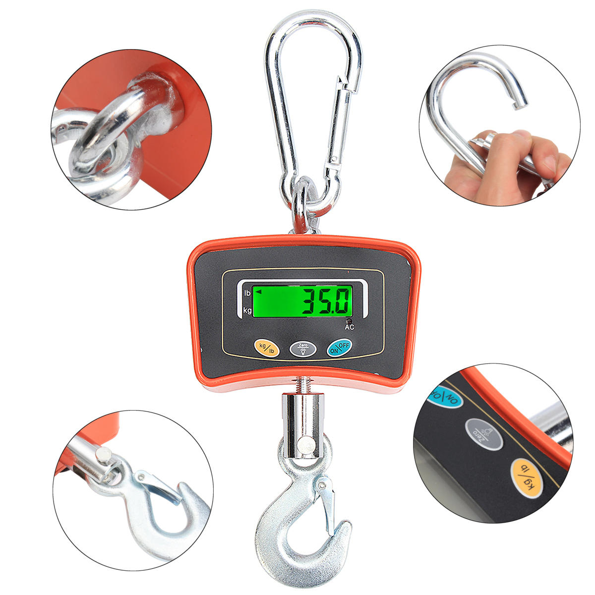 35178fb19b6c Heavy Duty 500KG 1100LBS Industrial LCD Digital Hanging Crane Scale