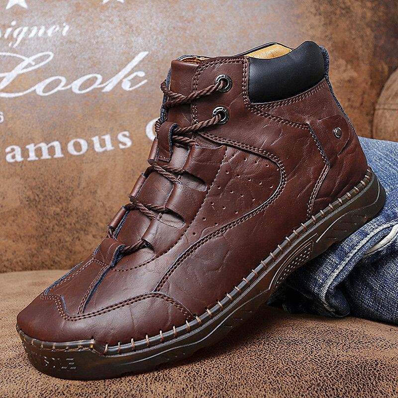 Men Microfiber Leather Breathable Hand Stitching Soft Sole Retro Brief Solid Casual Shoes