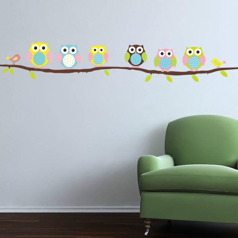 Owl Branch Tree Children Bedroom Living Room Living Room Wall Sticker Waterproof Can Be Removed - 1