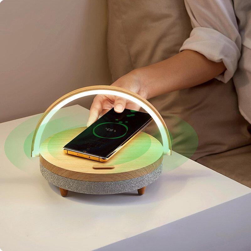 EZVALO Wireless Charging Music Desk Lamp Three-speed Dimming 5.0 bluetooth Speaker Type-c Charging Phone Holder