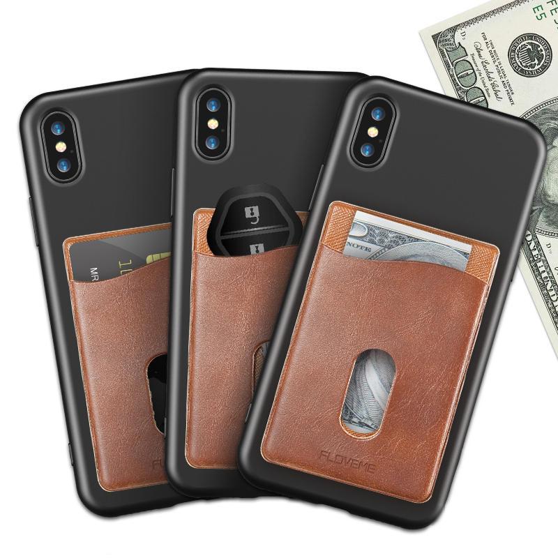 FLOVEME Universal Kortholderholder Pocket PU Lærveske til Samsung iPhone Xiaomi