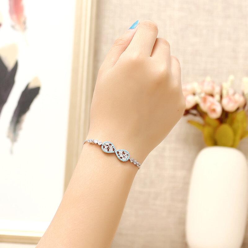 Sweet Blue Bowknot Infinity Knot Bracelet Elegant Zircon Adjustable Chain Bracelet Jewelry For Women
