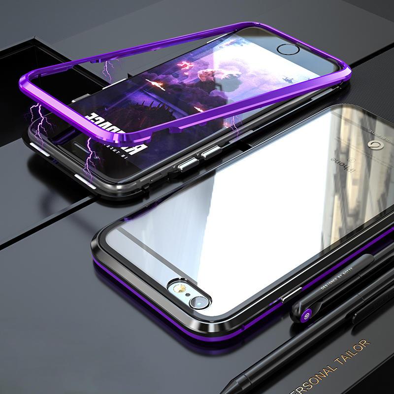 Bakeey Beskyttelsesveske for magnetisk adsorpsjonsmetallklart glassbeskyttelsesglass for iPhone 6/6s/6 Plus / 6s Plus
