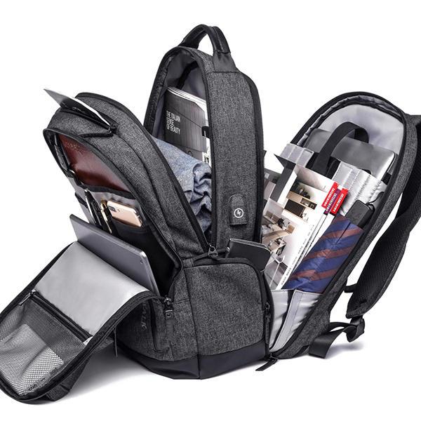 Men Anti Theft Waterproof Travel Bag USB Charging Port 15.6 Inch Laptop Backpack