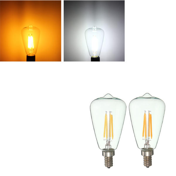 Retro E12 4w Edison Filament Bulb Led Warm White Pure Light Lamp Candle Ac 110v