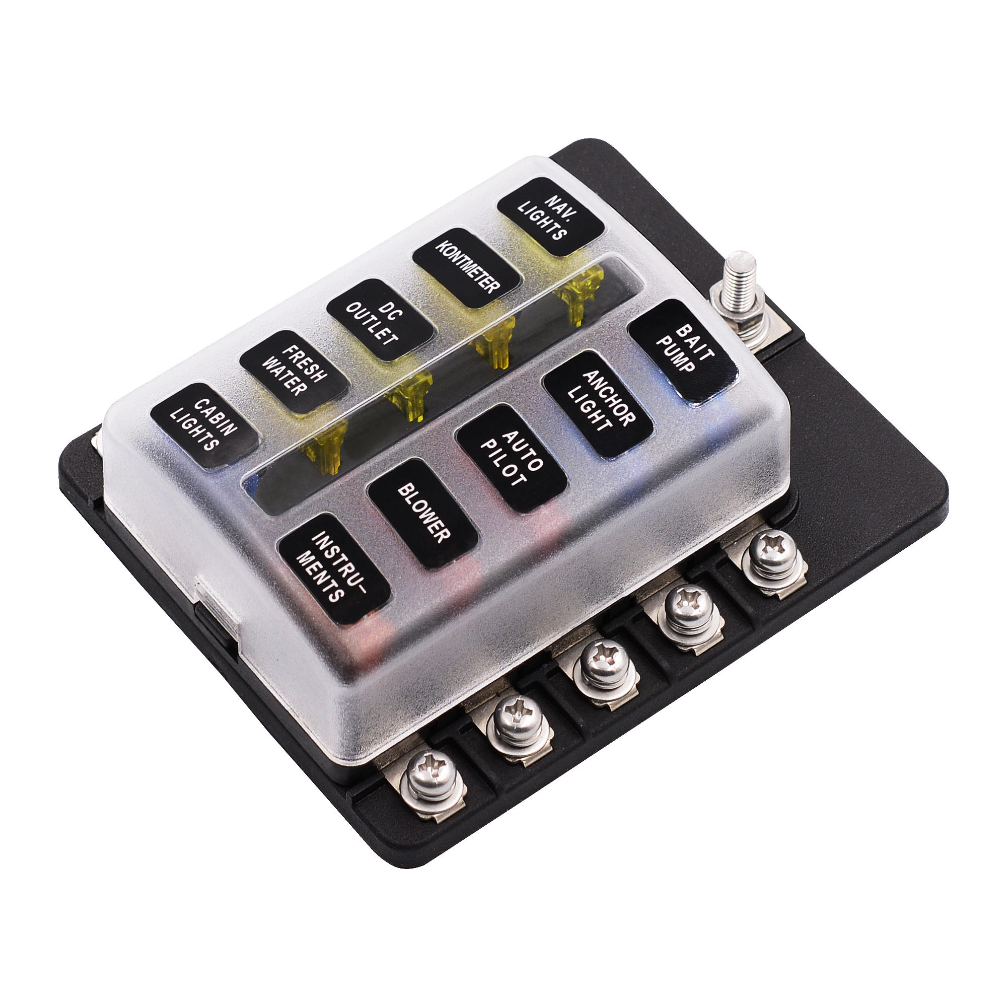 imars™ 10 way fuse box 12v 32v circuit standard blade block holder kit car caravan Smart Car Speaker
