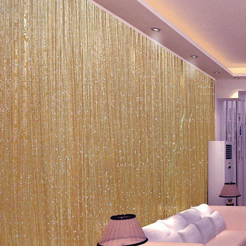 1.0x2.0m Glitter String Bead Door Curtain Panels Fly Screen & Room Divider Voile Curtains Net - 2