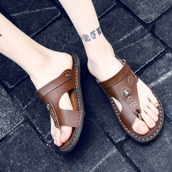 Hook&Loop Opened Toe Casual Beach Soft Sole Sandals - 4