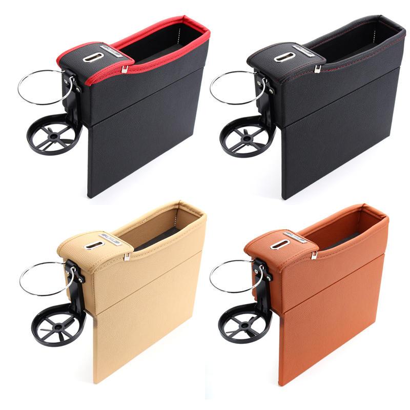 PU Leather Left Side Car Seat Crevice Gap Storage Box Pocket Organizer Phone Holder - 1