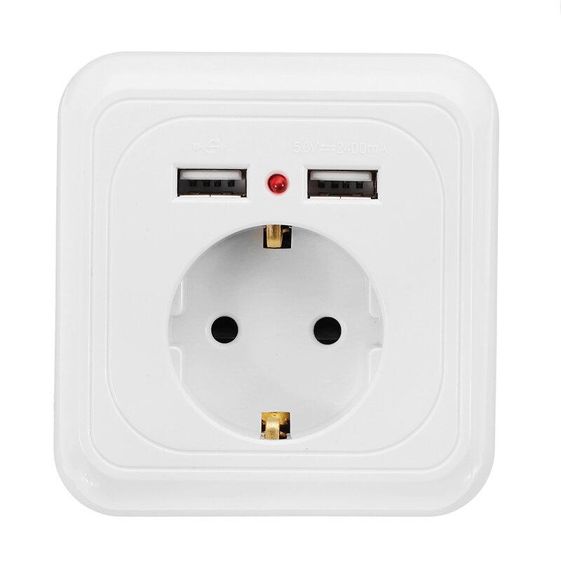 Excellway 250 V 2.4A Portas Dual USB Parede Tomada Interruptor Carregador UE Plug Mount Power Adapter Outlet Panel