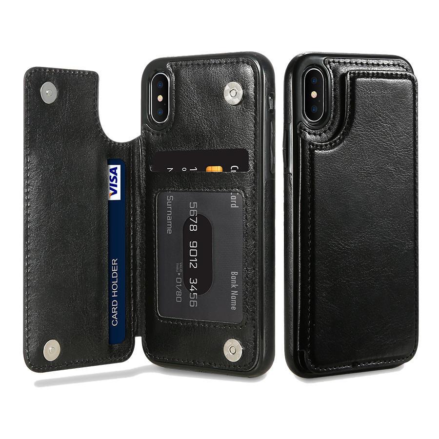 buy online 3780d 9df01 KISSCASE Retro PU Leather Card Slots Bracket Case for iPhone X 8/8 Plus/7/7  Plus/6/6s/6 Plus/6s Plus