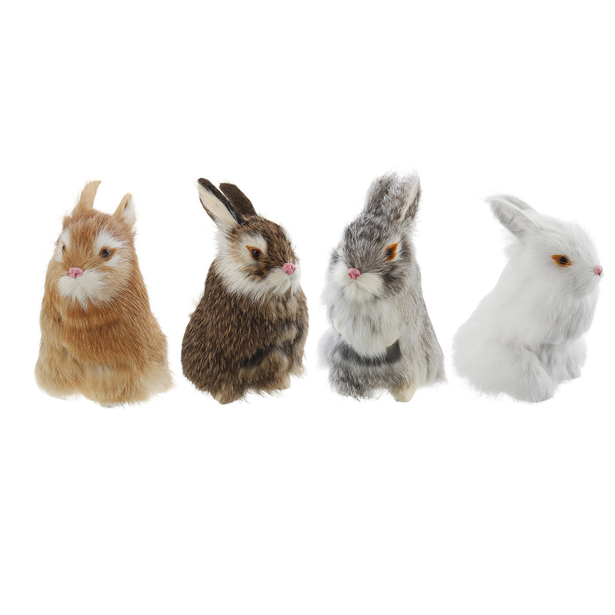 Gray/Yellow/Brown/White Rabbits Handmade Easter Bunnies Home Decorations Desktop Ornament - 1