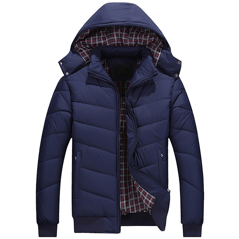 Men Hooded Winter Down Cotton Padded Coat Stand Collar Thick Jacket Warm Short Parka - 2