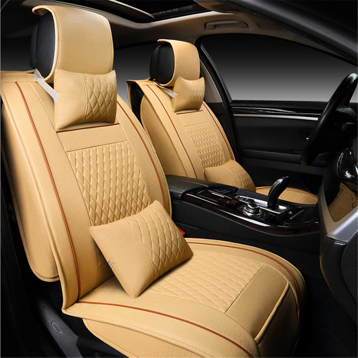 PU Leather 5 Seats Car Seat Cover Cushion Front Rear with Lumbar Pillow Head Rest фото