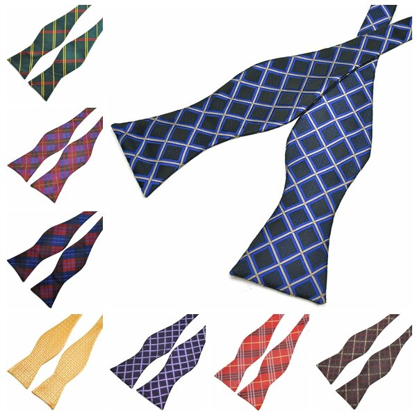 PenSee Men's Bow Ties Casual Lattice Paisley Jacquard Woven Silk Neckties Accessory