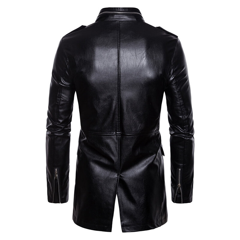 Mens PU Leather Fashion Black White Stitching Motorcycle Biker Jacket Baseball Collar Coat - 3