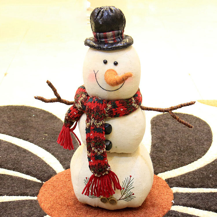 Christmas 2017 Linen Snowman Dolls Ornament Table Desk Decoration Christmas Gifts for Kids - 8